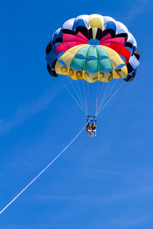 Coeur d Alene, Idaho - August 12: Parasailing adventure with people enjoying the view. August 12 2016, Coeur d Alene, Idaho.