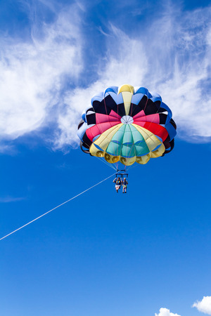 alene: Coeur d Alene, Idaho - August 12: Parasailing adventure with people enjoying the view. August 12 2016, Coeur d Alene, Idaho.