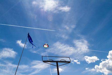 Coeur d Alene, Idaho - August 12: Parasailing adventure with people enjoying the view. August 12 2016, Coeur d Alene, Idaho.
