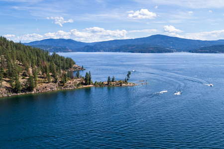 Tubs hill in Coeur d Alene Idaho viewed form a parasail Stock Photo