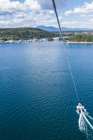 Aerial view of the beach downtown  Coeur d Alene Idaho from a parasail Stock Photo