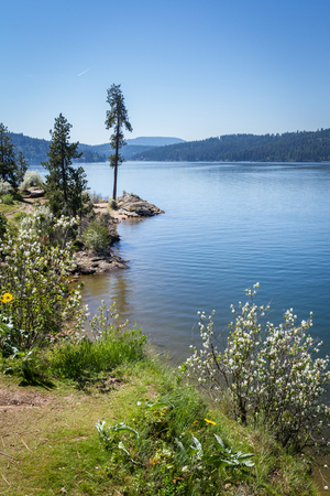alene: View of Coeur d Alene lake form one of the popular hiking spots, Tubs Hill. Stock Photo