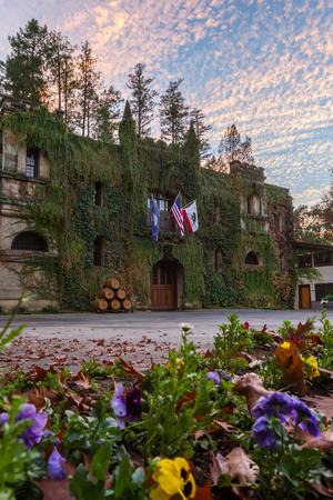 Calistoga, California - November 08: Beautiful view of the Chateau Montelena at sunset. November 08 2016, Calistoga, California.