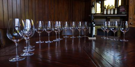 sauvignon: Napa, California - November 10: Bottle of Reserve Cabernet Sauvignon as a centerpiece for a private tasting room. November 10 2016, Napa, California.