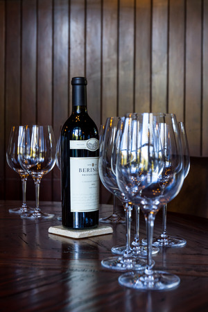 cabernet: Napa, California - November 10: Bottle of Reserve Cabernet Sauvignon as a centerpiece for a private tasting room. Editorial
