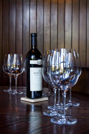 Napa, California - November 10: Bottle of Reserve Cabernet Sauvignon as a centerpiece for a private tasting room. Editorial