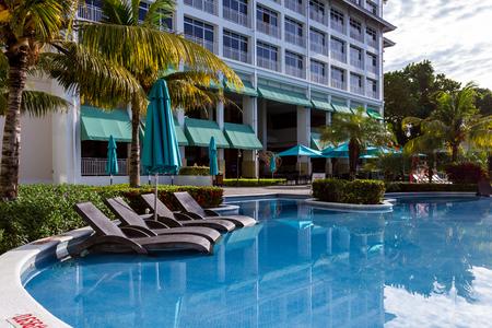 Santa Clara, Panama- June 15: Beautiful view of the Sheraton Bijao hotel and swimming pool in the morning. June 15 2016, Santa Clara, Panama. Editorial