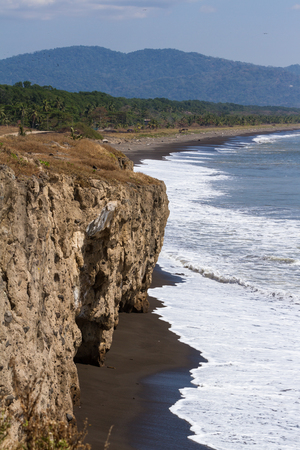 mud cliffs in a section of beach know as El Penon near Guacalillo beach in Puntarenas Costa Rica