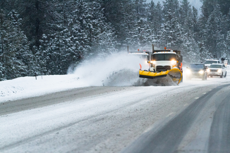 alene: plows cleaning up highway 95  in northern Idaho early February 2017