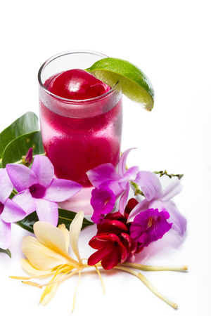 arandanos rojos: refreshing sparkling cocktail with frozen red juice garnished with beautiful wildflowers isolated on a white background