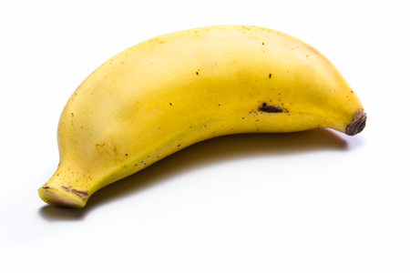 organic ripe banana with imperfections isolated on a white background Stock Photo