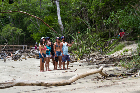 Guanacaste, Costa Rica- July 25: Group of friends gathered for a selfie picture in Nacascolo Beach. July 25 2017, Guanacaste, Costa Rica.