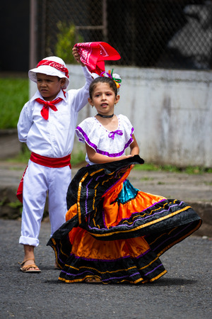typical: Tilaran, Costa Rica - September 15 : Young children celebrating independence day in Costa Rica with traditional clothing and dancing. September 15 2017, Tilaran Costa Rica. Editorial