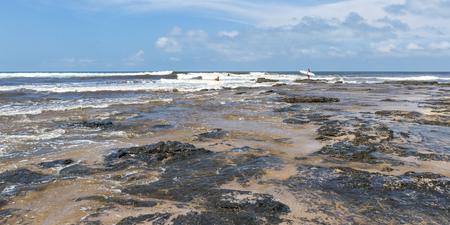 Langosta Beach, Costa Rica - October 12: Lifeguards preparing to enter the rough ocean to rescue a surfer. October 12 2017, Langosta Beach Costa Rica.