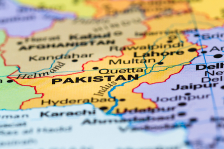 close up of a world map with the country of Pakistan in focus