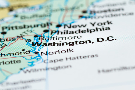 Close Up Of A World Map With Washington DC In Focus Stock Photo ...