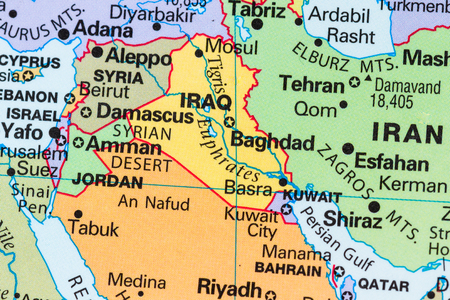 close up of a world map with the country of Iraq in focus