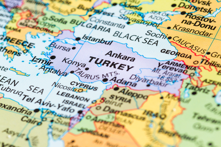 World map turkey stock photos royalty free world map turkey images close up of a world map with turkey in focus gumiabroncs Choice Image