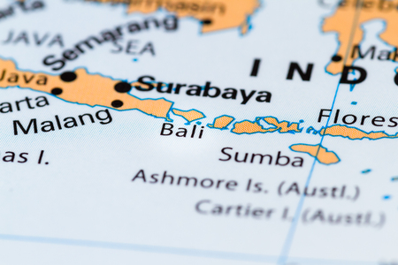 Close Up Of Bali And Other South Pacific Islands On A World Map ...