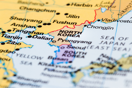 close up of a world map with North Korea in focus Stock Photo