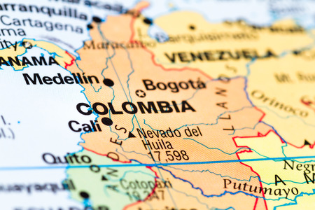close up of a world map with Colombia in focus 版權商用圖片
