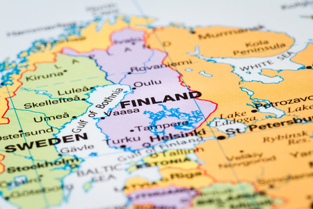 Scandinavia on  a world map with Finland in focus Standard-Bild