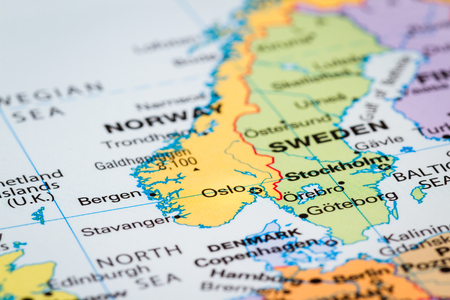 Scandinavia on  a world map with Oslo, Norway in focus