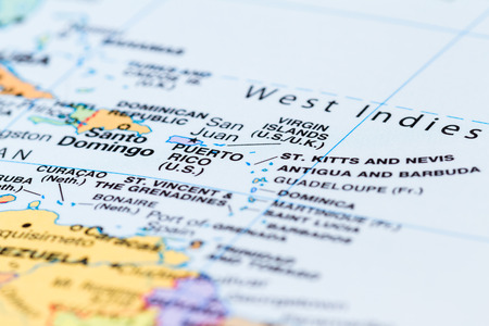 Close up of a section of Islands on the Caribbean found on a world map Stock Photo
