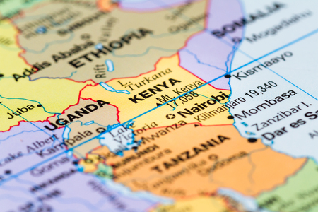 close up of a world map with the country of Kenya in focus