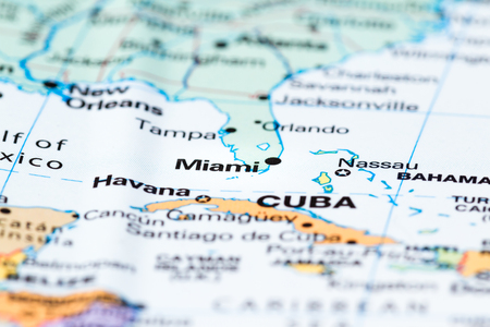 Section Of Florida With Miami In Focus On A World Map Stock Photo