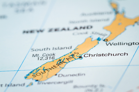 World map with the country of New Zealand in focus 写真素材