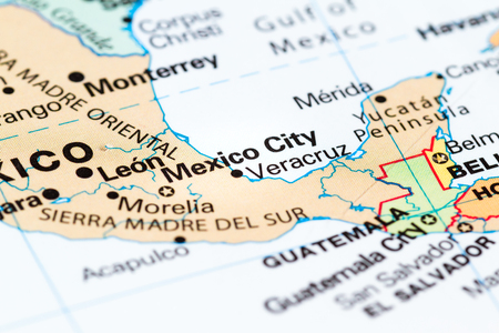 close up of a world map with the capital of mexico in focus mexico city