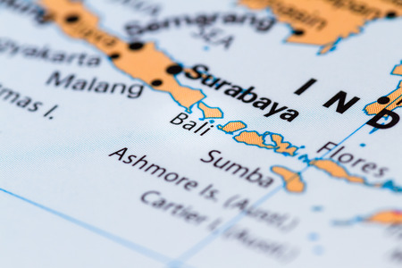 Marvelous Close Up Of Bali And Other South Pacific Islands On A World Map Stock Photo