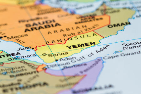 close up of a world map with the country of Yemen in focus Stock Photo