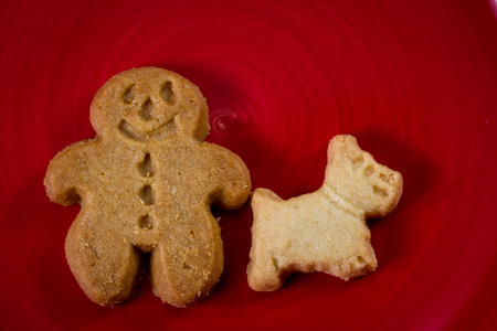 close up of a ginger bread man and his dog cookie on a red plate