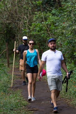 group of friends hiking in the Rincon de la Vieja National Park in Costa Rica