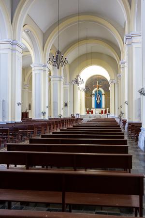 Granada, Nicaragua - January 20: Interior view of the church of Santo Domingo. January 20 2018, Granada, Nicaragua