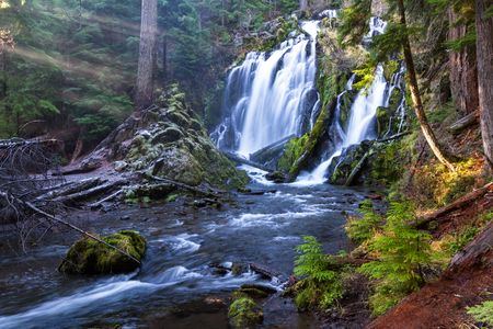 beautiful waterfall in southern Oregon shot on a cold winter afternoon with a bit of ice on the sides and green moss growing on logs and rocks Stock Photo