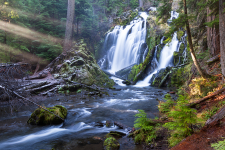 beautiful waterfall in southern Oregon shot on a cold winter afternoon with a bit of ice on the sides and green moss growing on logs and rocks