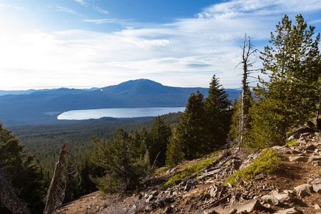 View of Diamond lake from the mount Thielsen trail with dense forest vegetation in the foreground