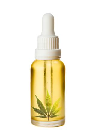 golden cannabis oil in a dropper bottle Stock fotó