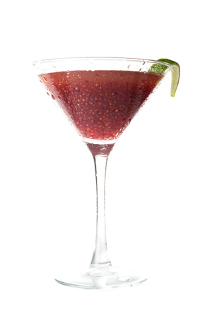 healthy beverage using hydrated chia seeds as an ingredient for a cosmopolitan cocktail isolated on a white background