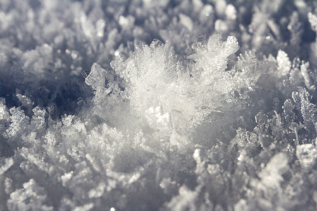 close up of fresh snow in really cold temperatures formed into long ice crystals with beautiful patterns