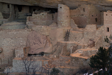 View of one of the many cliff dwellings in Mesa Verde National Park,