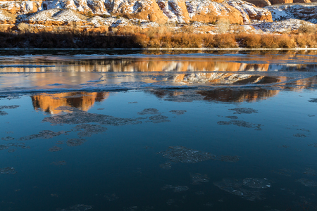 Large pieces of Ice flowing down the Colorado River. Photo taken beginning of February near Moab Utah