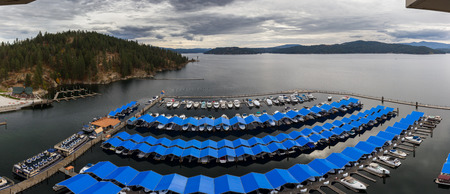 CDA, Idaho - September 08: View of the Boardwalk Marina from the 17th floor of the resort. September 08 2018, CDA, Idaho