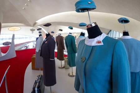 JFK Airport, Queens NY  - September 03 2019: Vintage TWA uniforms on display on the upstairs of the TWA hotel at JFK Airport, NY September 03,  2019 Redactioneel