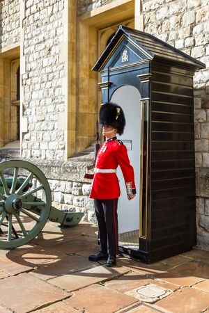 London  - September 05 2019: Queen's Guard inside of the Tower of London, London September 05,  2019