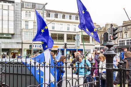 Edinburgh Scotland  - September 13 2019: Group of people on Princess Street protesting Bexit, UK September 13,  2019