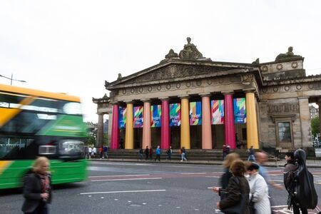 Edinburgh Scotland  - September 13 2019: Scottish National Gallery with colorful banners announcing an exhibition by Bridget Riley, Edinburgh UK September 13,  2019 報道画像